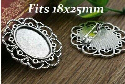 £5.50 • Buy 5 X Antique Silver Style  Oval Cabochon Brooch Settings Size Fits 18x25mm Cameo