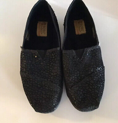 $2.99 • Buy Bobs Skechers Women Slip On Shoes Sequined Black Flat Casual Comfort Size 6.5 M