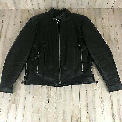 Street & Steele Mens Leather Jacket M Black Scooter Motorcycle Heavy Thinsulate  • 119.95$