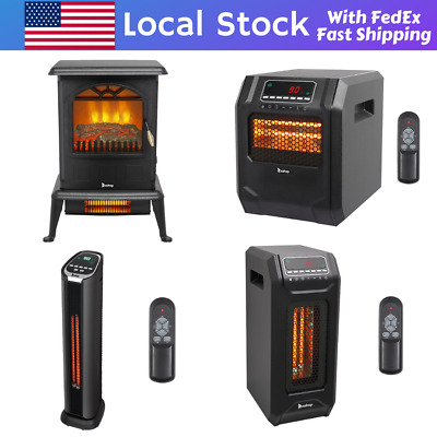 $64.97 • Buy 1500W Infrared Space Heater Electric Fireplace Quartz LED Safe Fire Stove Remote