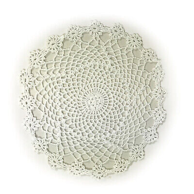 £5.75 • Buy White Crochet Lace Round Doily Pack Of 4 Cotton Doilies Vintage Home Table Mat