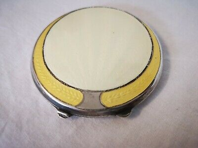 Antique English Art Deco Sterling Silver Canary Yellow Guilloche Enamel Compact • 199£