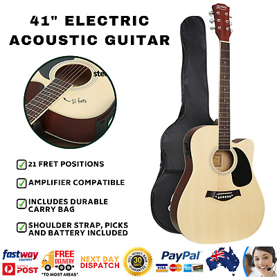 AU104.25 • Buy 41  Inch Electric Acoustic Guitar Wooden Classical EQ With Pickup Bass Natural
