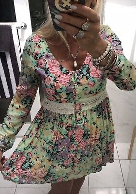 AU75 • Buy Arnhem Dress Floral Rayon + Lace Mini Baby Doll Small Fit Up To 10 As NEW