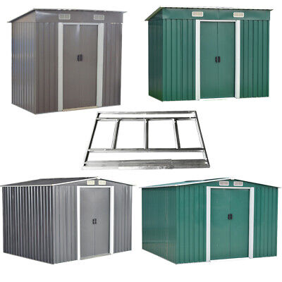 6X4,8X4,8X6,8X10 Metal Garden Shed Pent/Apex Roof Outdoor Storage With Free Base • 239.99£