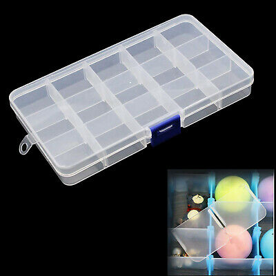 15 Compartments Clear Plastic Storage Box Jewelry Bead Screw Organizer Container • 3.29£
