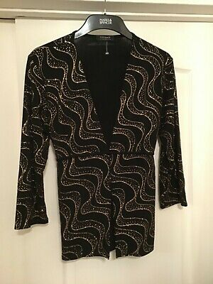 £8 • Buy New Forever By Michael Gold Long Glam Black & Gold 3/4 Sleeve Top With Stretch L