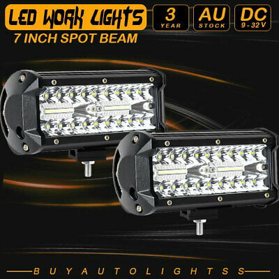 AU39.99 • Buy Pair 7  Inch LED Light Bar Spot Sealed Beam Work OffRoad Driving 400W Lamp 6  8