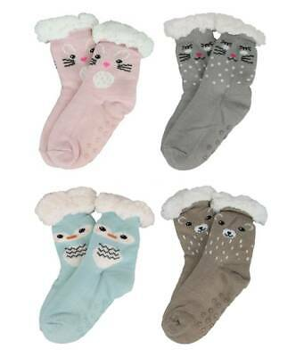 Toddlers Animal Face Sherpa Fleece Lined Cosy Slipper Socks 4 Colours & 3 Sizes • 6.50£