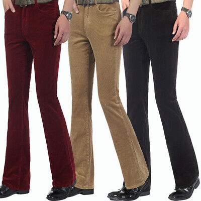 £29.59 • Buy Mens Corduroy Bell Bottom Flared Pants 60s 70s Retro Bootcut Trousers Hippie