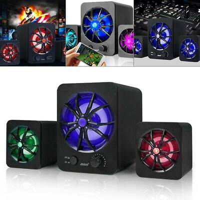 Subwoofer Computer Speakers USB Wired LED Bass Stereo Player For Laptop PC R4H2 • 12.99£