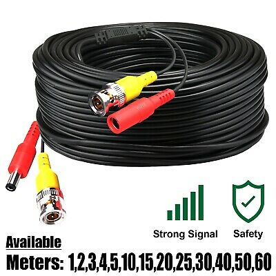 BNC CCTV Security Camera DVR Extension Cable DC Power Video Data Lead 5m To 60m • 2.85£