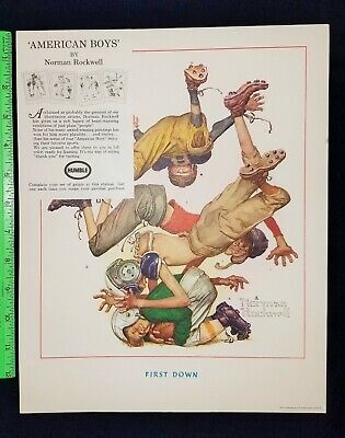 $ CDN243.43 • Buy HUMBLE Gas Station Promotion Norman Rockwell Print FOOTBALL FIRST DOWN 4 Boys