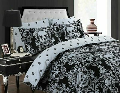 Baroque Skull Duvet Cover With Pillow Cases Gothic Quilt Bedding Set All Size • 59.99£