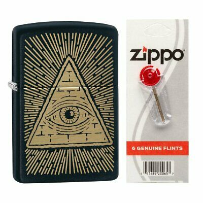 $17.94 • Buy Zippo Eye Of Providence Matte Lighter + 6 Zippo Flints #218-MP402081_2406N_1