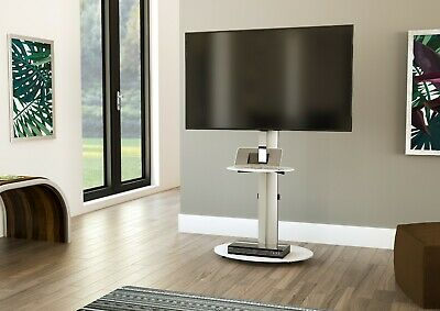 £59.99 • Buy Mahara TV Stand With Swivel VESA Bracket, Silver, With White Glass Up To 55