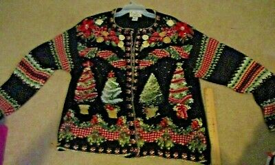 $10.41 • Buy HEIRLOOM COLLECTIBLES WOMEN Christmas Cardigan Sweater Size 14/16