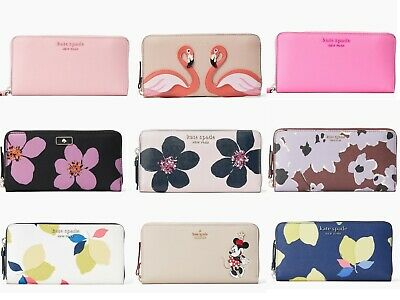 $ CDN112.21 • Buy Kate Spade Cameron Neda Zip Around Continental Wallet Floral Glitter