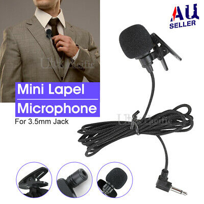 AU7.45 • Buy Lavalier Lapel Mic Clip-on Microphone Mini 3.5mm For Mobile IPhone PC Recording