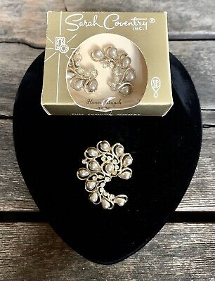 Vintage 1960 Sarah Coventry  Honey Bunch  Pin & Clipback Earrings Set • 9.99$