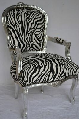 £119 • Buy Louis Xv Arm Chair French Style Chair Vintage Furniture Zebre Silver Wood