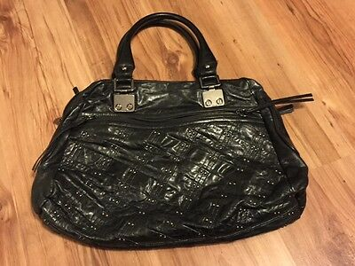 $35 • Buy Treesje Soft Black Leather Studded Quilted Shoulder Bag Purse Handbag