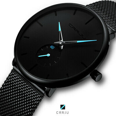 AU22.99 • Buy 【30m Waterproof】Men Quartz Sport Ultra-Thin Stainless Steel Watch Watches Mens