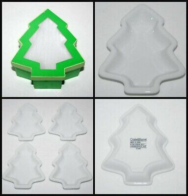 $34.99 • Buy Vintage Crate & Barrel Christmas Tree Shaped Dishes, Porcelain White, New In Box