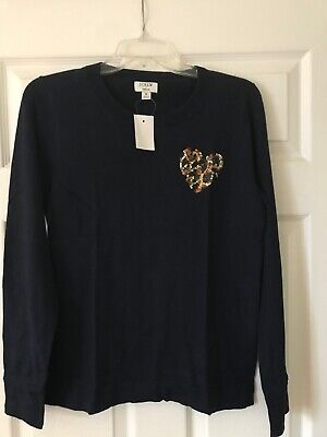 $29.99 • Buy NWT J. Crew Factory Fall 2019 Leopard Sequin Heart Teddie Sweater XL 16