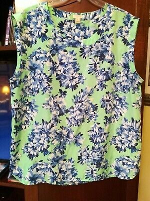 $8 • Buy J Crew Lime Green Blue Floral Print Sleeveless Top XL