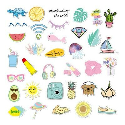 $6.78 • Buy 35pcs Cute Cup Decal Yellow / Pink Aesthetic Stickers For Hydro Flask / Pure