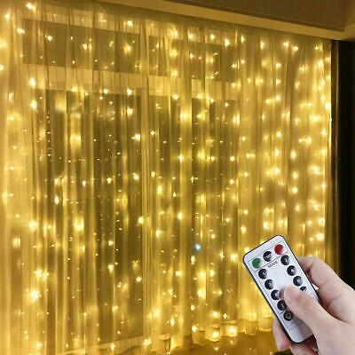 300 LED Curtain Fairy String Lights In/Outdoor Controller Window Wedding Decor • 10.99£
