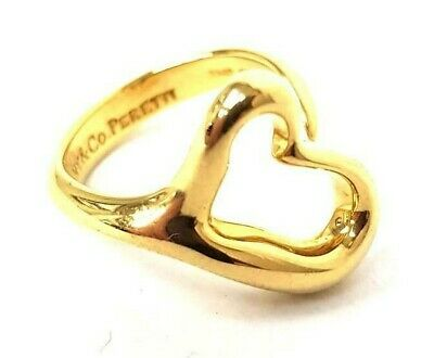 Tiffany Elsa Peretti 18ct Yellow Gold Open Heart Ring 6.6g Size Can Be Altered • 595£