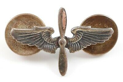 US Military Sterling Pilot Army Air Force Wings & Propeller Lapel Hat Pin WWII • 10.45$