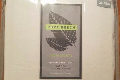 PURE BEECH 100% Modal Queen Sheet Set  Light Blue Sateen 400 Ct NWT MSRP $99.99 • 70$