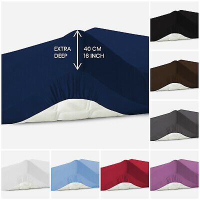 40Cm Extra Deep Fitted Sheet Bed Sheets 100% Poly Cotton Single Double King Size • 10.49£
