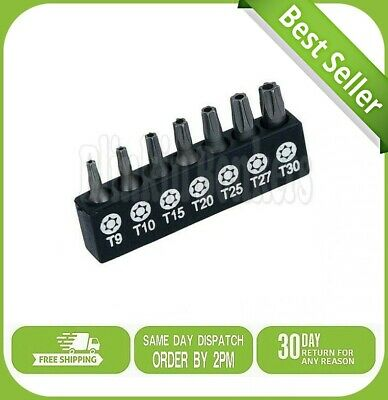 7pc Torx Star Security Bit Set Screwdriver Power Drive With Hole Tamperproof Uk • 3.29£