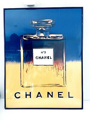 """$722.50 • Buy Andy Warhol Signed Painting Of """"Chanel No. 5"""" Bottle 1997 Print Framed W Glass"""
