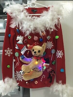 $149.99 • Buy Ugly Christmas Dog Sweater Chihuahua With Lights Women's S
