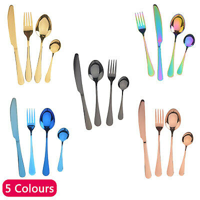 £5.99 • Buy 4pcs Rainbow Cutlery Sets Stainless Steel Colorful Iridescent Spoon Forks Pieces