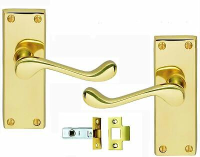 £8.79 • Buy Victorian Scroll Polished Brass Door Handle With Latch Set 120mm Back Plate