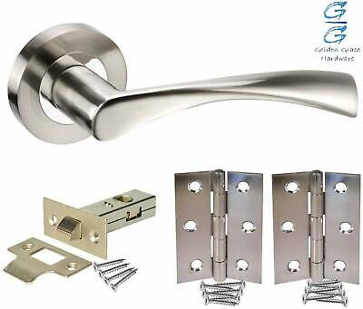£9.10 • Buy 1 Set Astrid Modern Chrome Door Handles On Rose Duo Finish With Latches Hinges