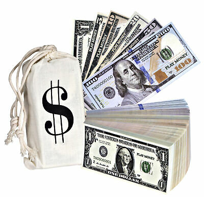 Pretend Play Realistic Double Sided Money Stack That Looks Real  (5 X 2.5 In) • 10.99$