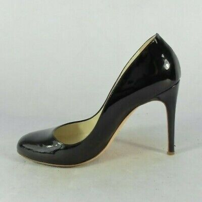 Designer Rupert Sanderson Black Patent Leather Court Shoes With Round Toe Size 7 • 69.99£