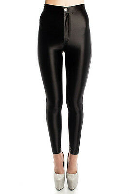 £12.99 • Buy Ladies Fashion American Apparel Style Highwaisted Stretchy Shiny Disco Pants