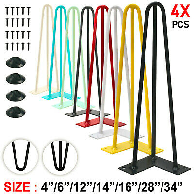 4 X Hairpin Legs Industrial Metal Hair Pin Table Leg Set Coffee Bench Furniture  • 19.99£