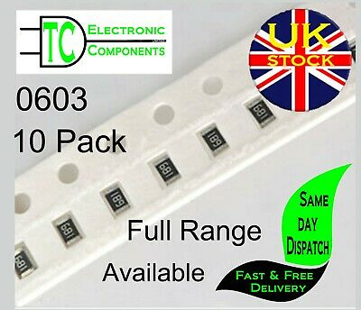 $1.72 • Buy 0603 SMD Resistors 1% Full Range Available (10 Pack) **UK Seller** Free P&P