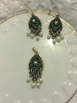 Sarah Coventry Earrings And Matching Pendant Charm Metaphysical Jade And Pearls • 5.75$