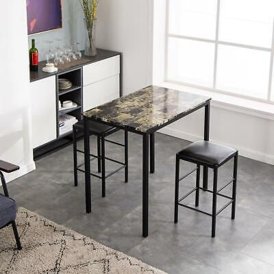 $89.99 • Buy 3 Piece Dining Table Set Black 2 Chair Marble Iron Kitchen Dining Room Breakfast