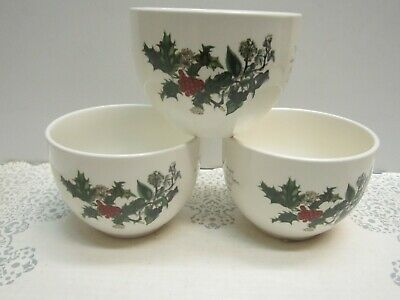Portmeirion THE HOLLY AND THE IVY Set Of 3 Chili / Rice Bowls Brand New BRITAIN • 100$